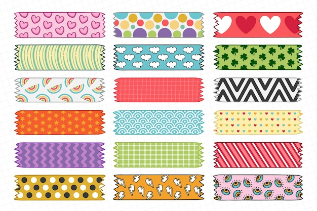 Set of hand drawn washi tape set