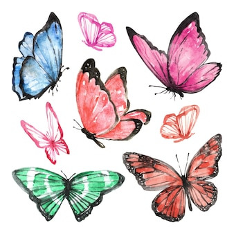 Set of hand drawn watercolor butterflies
