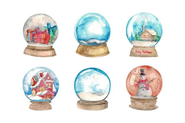 Set of hand drawn watercolor christmas crystal ball