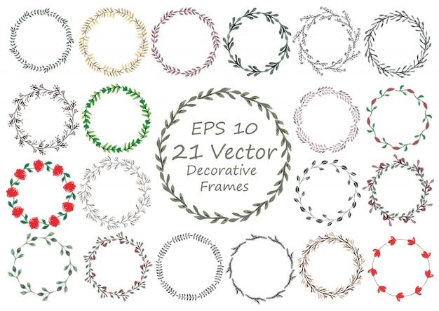 Set of hand-drawn watercolor floral frame made in vector