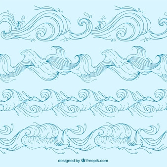 Set of hand-drawn waves