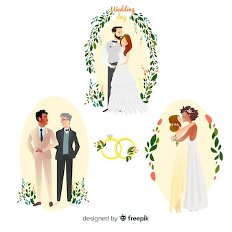 Set of hand drawn wedding couple