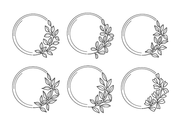 Set of hand drawn wedding floral wreath with leaf and branch