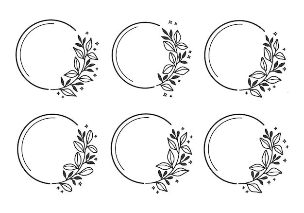 Set of hand drawn wedding flower wreath with leaf and branch
