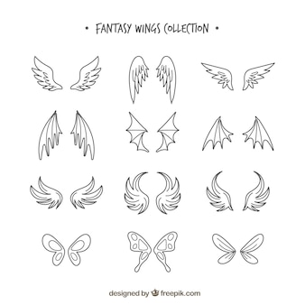 Set of hand drawn wings
