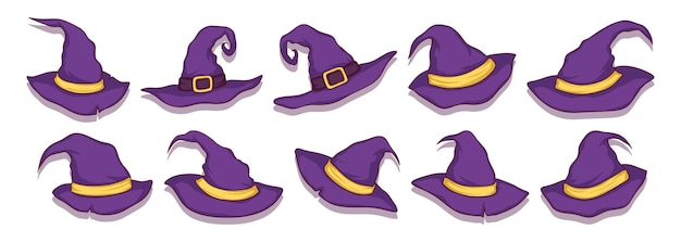 Set of hand drawn witch hats