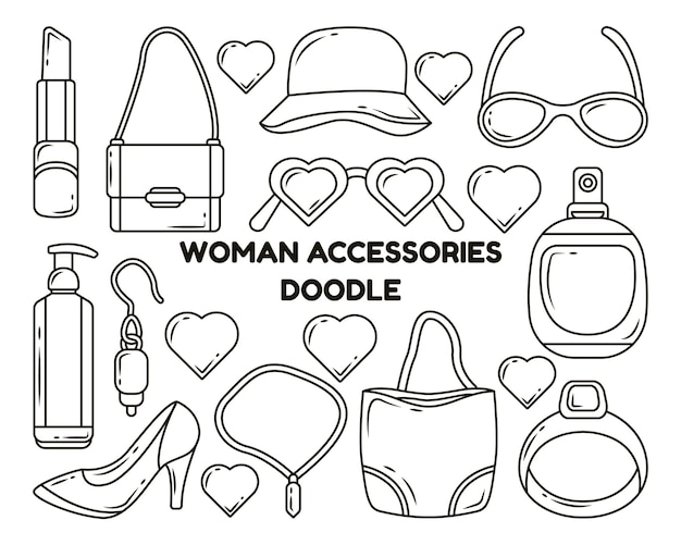 Set of hand drawn woman accessories cartoon doodle style coloring