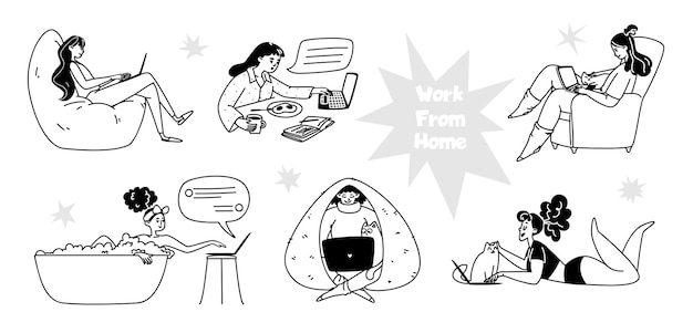 Set of hand drawn women working from home. young women working
