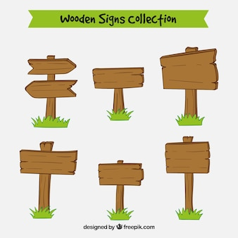 Set of hand drawn wooden signs