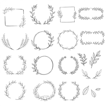 Set of hand drawn wreaths for decoration or wedding invitation