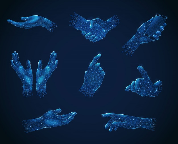 Set of hand gestures in blue polygonal wireframe style luminescent
