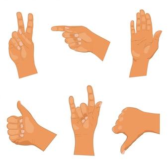 Set of hand gestures on white background.  illustration
