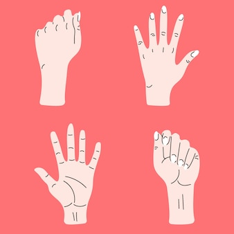 Set of hand. hand drawn colorful trendy vector illustration. cartoon style. flat design. all elements are isolated