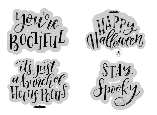 A set of hand lettering quotes for halloween
