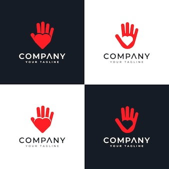 Set of hand love logo creative design for all uses