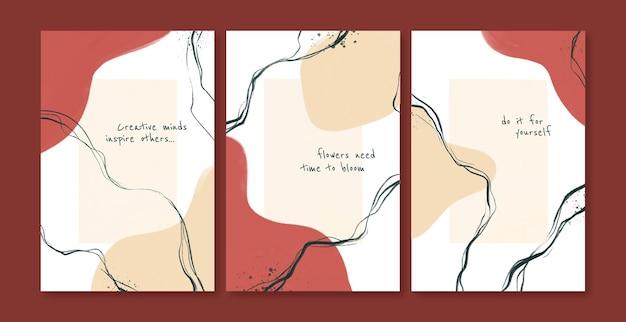 Set di pagine di copertina astratte dipinte a mano design