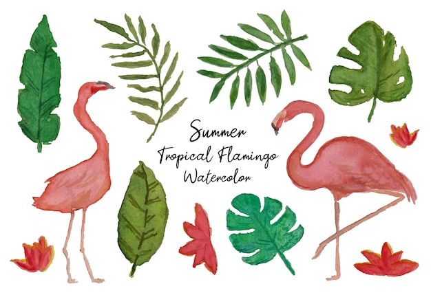 A set of hand painted flamingo and tropical leaf watercolor
