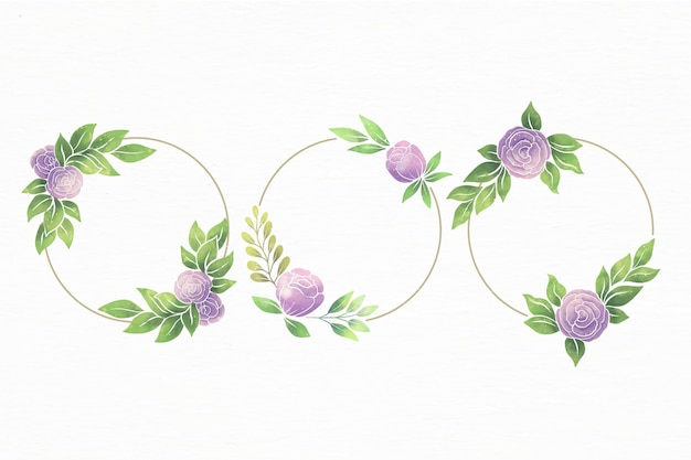 Set of hand painted watercolor floral frames