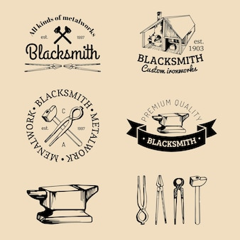 Set of hand sketched blacksmith logos.   farrier icons collection.