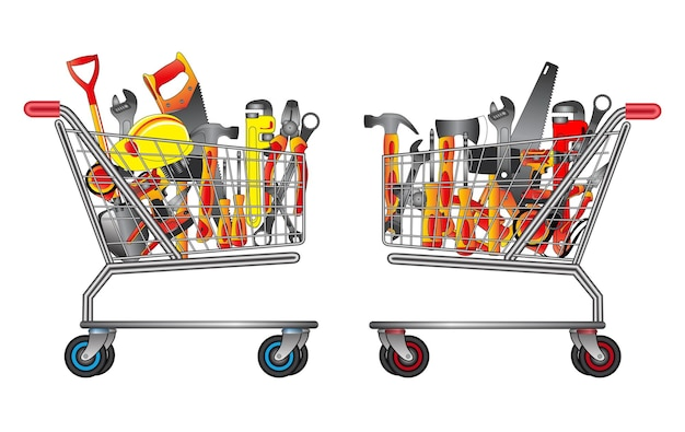 Set of hand tools in trolley shopping