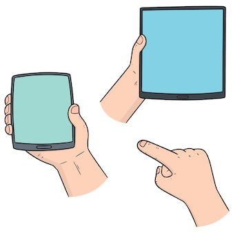 Set of hand using smart device