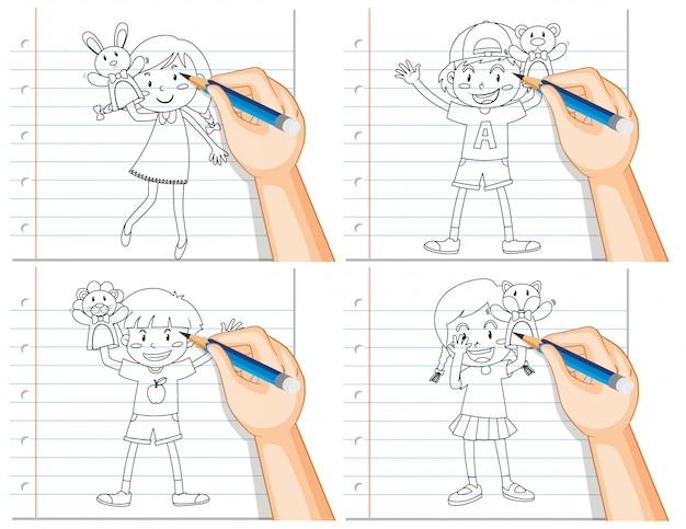 Set of hand writing of different kids playing with dooutline