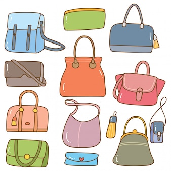 Set of handbag doodle isolated on white