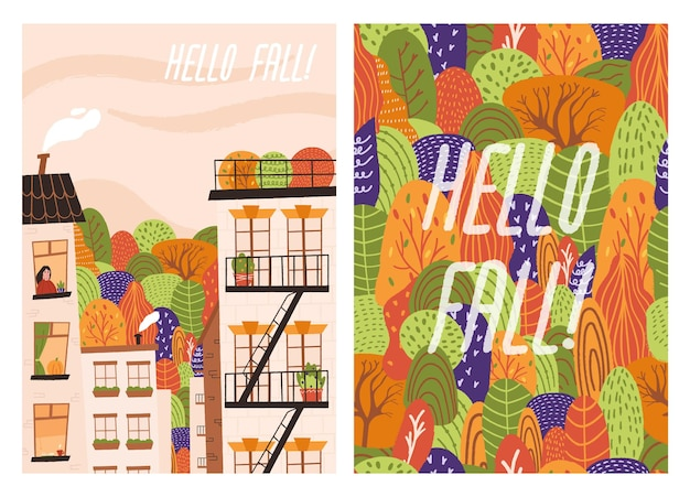 Set of handdrawn autumn poster with city and trees