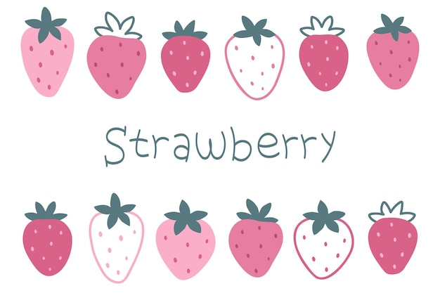A set of handdrawn pink strawberries