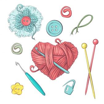 Set for handmade ball  for crocheting and knitting. Premium Vector