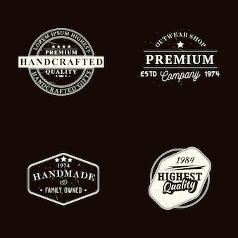 Set of handmade, handcrafted and premium quality badges and design templates with grunge effect, vector illustration