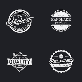 Set of handmade, homemade and highest quality labels