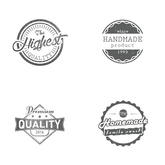 Set of handmade, homemade, premium and highest quality labels, badges, vector illustration. vintage retro styled badges