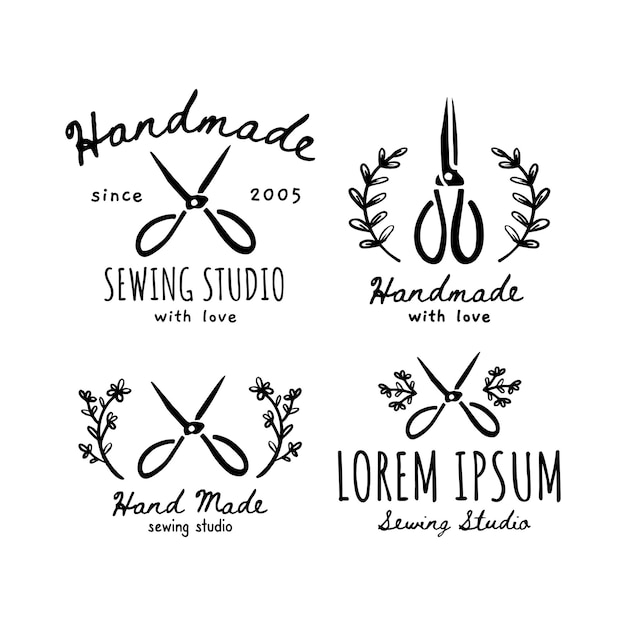 A set of handmade icons, labels, icons and logo elements. vector illustration of handmade scissors. design for craft seamstress , sewing studio