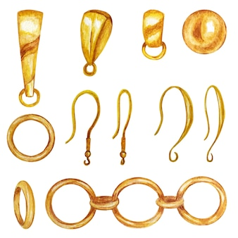Set for handmade jewelry making. gold jewelry findings, pendant holder, earring hook, chain.