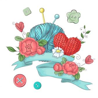 Set for handmade logo  for crocheting and knitting.