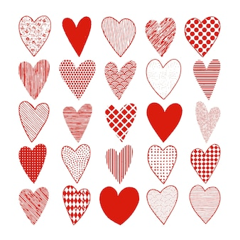 Set of handrawn doodle red hearts for valentine's day