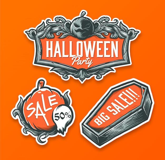 Set of handrawn halloween badge
