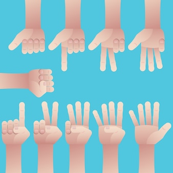 Set of hands counting zero to nine