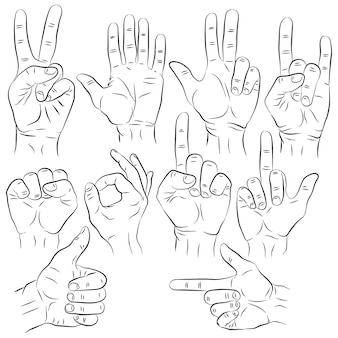 Set of hands in different gestures emotions and signs on white