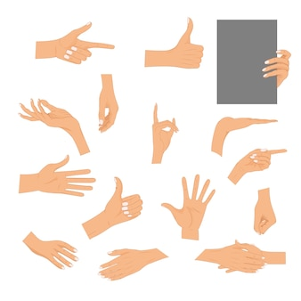 Set hands in different gestures isolated. colored hand gesture set with manicured nails