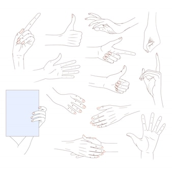 Set hands in different gestures isolated on white background. good skin line illust