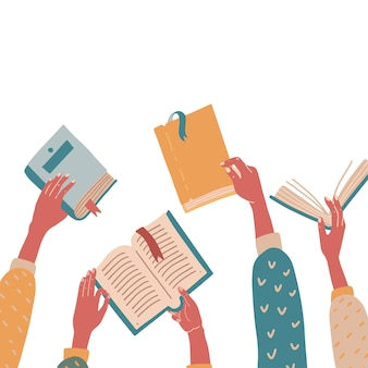 Set of hands holding colorful books. concept flat vector illustration. education, school, reading theme.