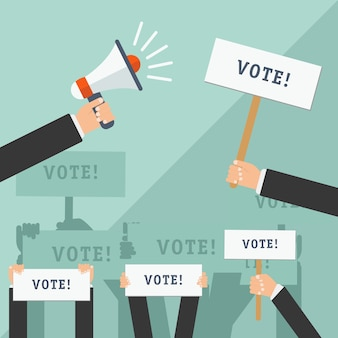 Set of hands holding different signs. voting concept. vector illustration