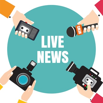 Set of hands holding voice recorders, microphones, camera. live news. press illustration.