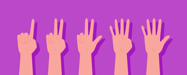 A set of hands. set of counting hands sign from one to ten. the finger gestures. count on your fingers. zero, one, two, three, four, five, six, seven, eight, nine, ten.
