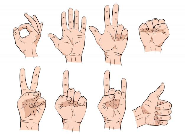Set of hands sketch in different gestures emotions and signs