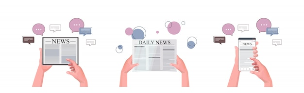 Set hands using l gadgets reading daily news online newspaper press mass media chat bubble communication