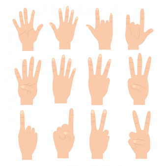 Set of hands with different gestures
