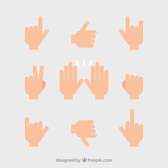 Set of hands with different signs